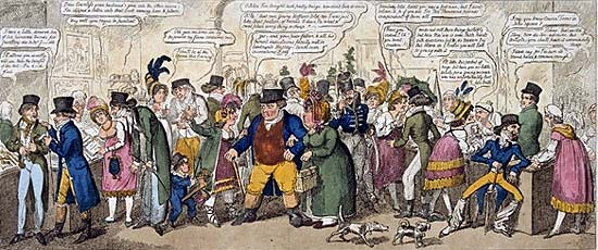 A Soho Bazaar 1816: A rakish Hussar ogles John Bull's plump wife through a lorgnette. Fops, dandies and other ridiculous figures inspect the tawdry goods.